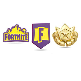 Pvc Cosplay Clothing UK - Game Fortnite Bttle Royale Badge Cosplay PVC Button Chest Badges Pin Brooch Fortnight Fans Favor Gift Bags Hats Clothing Accessory