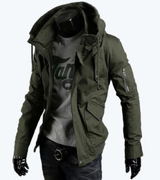 Discount army casual uniform Autumn winter men's tooling uniform jacket youth Slim Army green casual coat Outerwear jackets