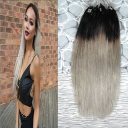 Ombre Micro Rings Australia - 100G Loop Micro Ring Machine Made Remy Hair Extension 100% Human Hair Straight Ombre Piano Color Micro Links 1g s 100g