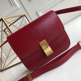 design genuine leather NZ - retro square new design lady shoulder bags genuine soft leather pure red color with metal snap button decorative top material cross body bag