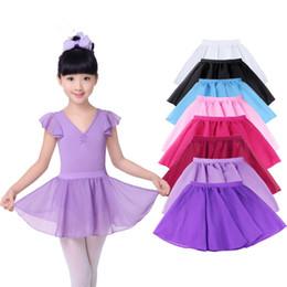 Les enfants mousseline danse jupe 13 couleurs couleur solide élastique jupe de ballet de la taille pour la pratique d'exécution 3-16T en Solde