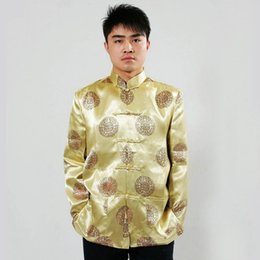chinese jacket kung fu Canada - Traditional Chinese Men's Kung-Fu Jacket Coat Long Sleeve shirt Blouse S M L XL XXL 3XL Wholesale And Retail Gold 6 Colors