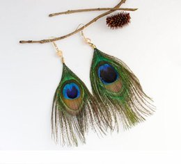 earrings peacock feathers UK - new hot European and American retro national wind luxury peacock feather earrings fashion classic refined elegance