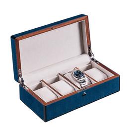 Painting Wood Jewelry Australia - New Dark Blue Watch Storage Case Piano Paint Mechanical Watch Display Boxes Women Jewelry Package Box