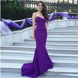 Wholesale Sexy Cheap Evening Dresses Purple Prom Dress Mermaid Simple Fashion Hot Sale New Custom Made Plus Size Robe De Soiree