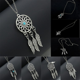 New free Necklace online shopping - Free DHL New Dreamcatcher Leaves Wings Alloy Bohemian Ethnic Tassel Fringe Feather Turquoise Long Necklace Pendant Chain Jewelry B992Q Y