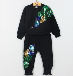 Hot Boys Pants Sports Australia - hot 2019 New girls boys long-sleeved T-shirt pants kids sports two-piece suit peacock sequins Free shipping