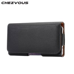 Wholesale CHEZVOUS Universal inch Belt Clip Holster Leather Mobile Phone Cases Pouch For Samsung Galaxy S6 edge S7 S6 S5