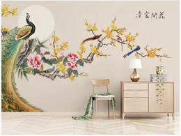 $enCountryForm.capitalKeyWord Australia - WDBH 3d wallpaer custom photo Chinese style hand-painted plum peony flower bird room home decor 3d wall murals wallpaper for walls 3d
