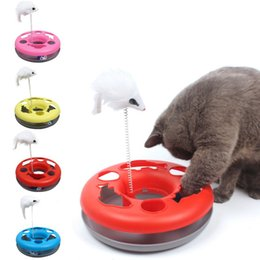 pet mice toys Canada - Multiple Color Cat Toys Spring Mice Crazy Amusement Disk Multifunctional Disk Play Activity Pet Funny Toys