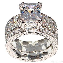China Gold Stunning NZ - 3pcs Stunning Wedding Band Ring Luxury Jewelry 10KT White Gold Filled Princess Cut Topaz CZ Diamond Women Engagement 3 IN 1 Ring Set Gift
