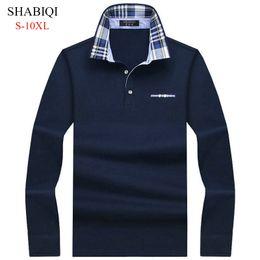 Mens Plus Size Silk Shirts UK - Shabiqi Casual Cotton Men Shirt Mens Long Sleeve Solid Polo Shirts Camisa Polos Tops Tees Plus Size 6xl 7xl 8xl 9xl 10xl C19041501