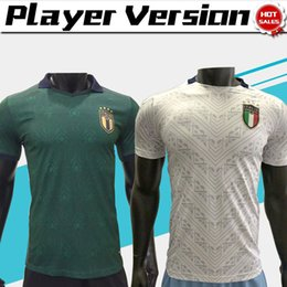 Wholesale men s shirts italy for sale – custom Player version Italy third Soccer Jerseys BONUCCI Men Green Renaissance Soccer Shirts away national team Football uniforms
