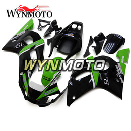 Motorcycle Fairings For Yamaha Australia - Green Strips Black Motorcycle Fairings For Yamaha YZF 600 R6 1998 1999 2000 2001 2002 ABS Plastic Injection motorbike Kits cowlings covers