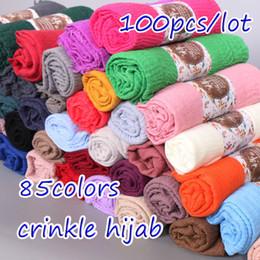 Cotton Viscose Scarves Australia - 100pcs lot plain crinkled hijab bubble cotton viscose scarf muslim hijab wraps scarves Wrinkle women shawl 85 colors