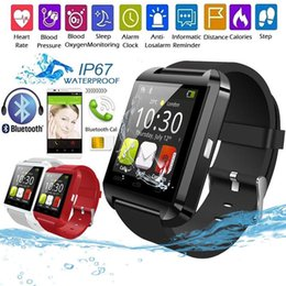 red watch touch NZ - Bluetooth Smart Watch U8 Smart Wear Wireless Bluetooth Touch Screen Smart Watch with Android Card IOS Phone SIM Card Slot