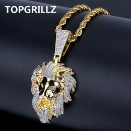 $enCountryForm.capitalKeyWord Australia - Topgrillz Hip Hop Gold Color Plated Iced Out Micro Pave Cubic Zircon Lion Head Pendant Necklace Charm For Men Jewelry Gifts J190625