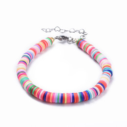 Handmade clay bead necklace online shopping - Handmade Polymer Clay Heishi Colorful Beads Bracelets and Necklaces Jewelry for Women Gifts Birthaday Gifts F50