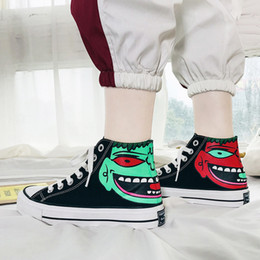 $enCountryForm.capitalKeyWord Australia - Spring Tremble Hand-painted Hip-hop Hip-hop Individual Couple Shoes, Ghost Face Canvas Shoes, High Upper Skateboard Origin Female Shoes