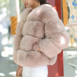 розовый пушистый пальто оптовых-UPPIN Imported High Quality Pink Fur Coat Women Winter Thick Warm Faux Furry Girls Coats Round Collar Womens Fake Fur Jacket