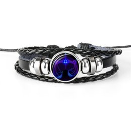 $enCountryForm.capitalKeyWord Australia - Fashion Charms Beads Leather Rope Bracelets & Bangles for Women Men Punk 12 Constellations Zodiac Libra Time Gem Glass Cabochon Jewelry 2019
