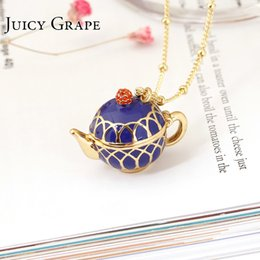 $enCountryForm.capitalKeyWord Australia - Juicy Grape Hand Painted Teapot Pendant Long Chain Choker Enamel Necklace Fashion Jewelry Bijoux Femme Bijuteria Gifts For Women J190625