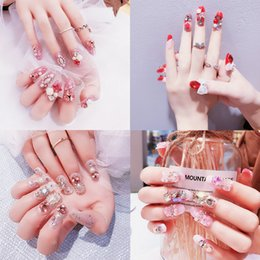 $enCountryForm.capitalKeyWord Australia - New Fake Nails 24pcs Full Cover 3D Nails tips Decorated Art artificial nails faux with glue sticker sexy for party fashion bride