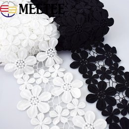 Cotton laCe trims online shopping - Meetee cm cm Water Soluble Cotton Embroidery Flower Lace Trim Black White Dress Lace Fabric Hand Clothes Accessories