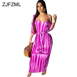$enCountryForm.capitalKeyWord NZ - Plus Size Summer Long Maxi Dress Women Tie Dye Print One Shoulder Holiday Beach Dress Vintage Half Batwing Sleeve Boho Dresses
