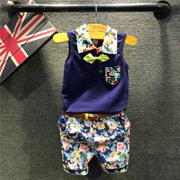 Floral Print Shirts Baby Australia - Kids boys casual clothing set baby boy dark blue floral printed t shirt and floral short 2pcs children fashion all match clothes