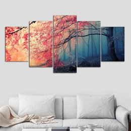red tree life painting UK - Poster HD Prints Modern Wall Art Canvas For Living Room 5 Pieces Cherry Blossoms Pictures Decor Red Trees Forest Painting