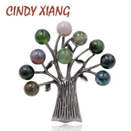 High Quality Suit China Australia - CINDY XIANG Stone Tree Brooches for Women Elegant Vintage Brooch Pin Suit Accessories 3 Colors Choose High Quality New 2018 Gift D19011502