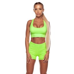 Ladies Short Set Piece Australia - Shinny Green Women Two Pieces Sets for Fitness Summer Set Ladies Tracksuit with Shorts High Waist Shorts Set Sportswear Outfits