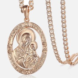 mary jesus pendant Australia - Trendsmax Men's Women's Pendant Necklace 585 Rose Gold Virgin Mary Jesus Pendant Necklace Fashion Jewelry Wholesale Gifts GP194