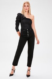 bleach crystals NZ - Trendyol Black Front Button High Waist Mom Jeans TWOAW20JE0050