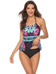 Wholesale womens tankinis for sale – plus size Printed Bikinis Halter High Waist Casual Ladies Tankinis Beach Holiday Fashion Female Swimwears Summer Womens Floral