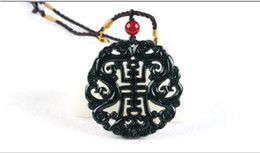 Hollow angel pendants online shopping - Hollow Out Double sided Carved Bat Phoenix Jade Pendant Natural Chinese Black Green Necklace Charm Jewellery Lucky Amulet Gifts