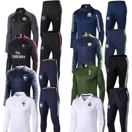 Cheap training jaCkets online shopping - 2018 Two stars French psg tracksuit Real Madrid Cheap jerseys Hoodie soccer Tracksuit Sets jacket MBAPPE POGBA Football Training suit