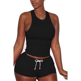 Pink Clothing Women UK - Solid Color Women Casual Clothes Sets Bandage Summer Crop Tops + Hot Shorts Female Fashion Street Wear Sets Slim Outfits