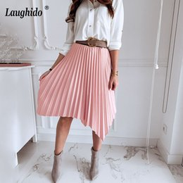 $enCountryForm.capitalKeyWord Australia - Laughido High Waist Pleated Skirts Solid Irregular Elegant Party Skirts Women Clothing Summer Sexy Loose Bottom Female