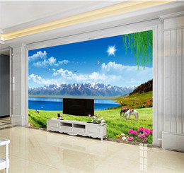 $enCountryForm.capitalKeyWord Australia - Custom Any Size 3D Mural Wallpaper Beautiful Grassland Lake Cattle And Flock Landscape Home Decor Living Room Wall Covering
