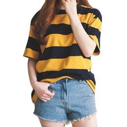 $enCountryForm.capitalKeyWord NZ - New Fashion T Shirt Women Black 2019 Spring Summer Yellow Striped Color Short Sleeve O Neck Tops Casual Loose T-shirt