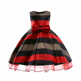 $enCountryForm.capitalKeyWord NZ - Striped Pattern Girl Dresses Jacquard Material Long Skirt With Big Bow Lace Princess Dresses Formal Wedding Party Ball Gown