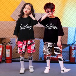dance camouflage costumes Australia - Kid Hip Hop Clothing Running Oversized T Shirt Top Camouflage Gym Shorts for Girls Boys Dance Costumes Ballroom Dancing Clothes