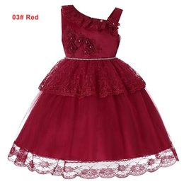 red tutu christmas NZ - Girls Summer 4 to 14 years tutu lace flowers Rhinestone dress, 6 colors to chosen, baby kids & teenager boutique party clothes, 2AAX808DS-12