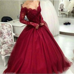 Red Ball Gown Long Prom Dresses Australia - Red Scoop Long Sleeve Ball Gown Lace Formal Evening Dresses Women's Fashion Bridal Special Occasion Prom Bridesmaid Party Dress 17LF559