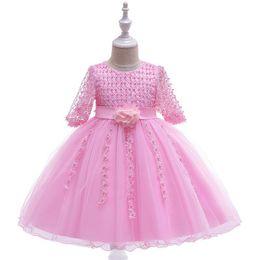 0323e56d73 2019 Princess party wedding birthday Dresses Children Handmade beading  clothes Host frock baby Girl Flower kids dress children in hand-bead
