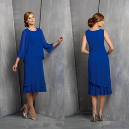 mother asymmetrical dress 2019 - Royal Blue Mother Of The Bride Groom Dresses With Jacket Two Pieces Formal Wedding Party Evening Gown Plus Size Mother&#