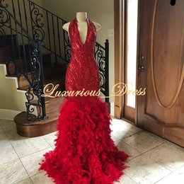 Red Mermaid Dresses Feathers Australia - Red Feather Sexy Mermaid Prom Dresses 2019 Halter Sequined Beaded Special Occasion Dresses Formal Evening Dresses Party Gowns Wear Vestidos