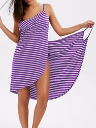 567b394f95 2019 Hot Sell Sexy Backless Women Summer Striped Dress V-neck Spaghetti  Strap Women Knee-length Cover ups Beach Dresses